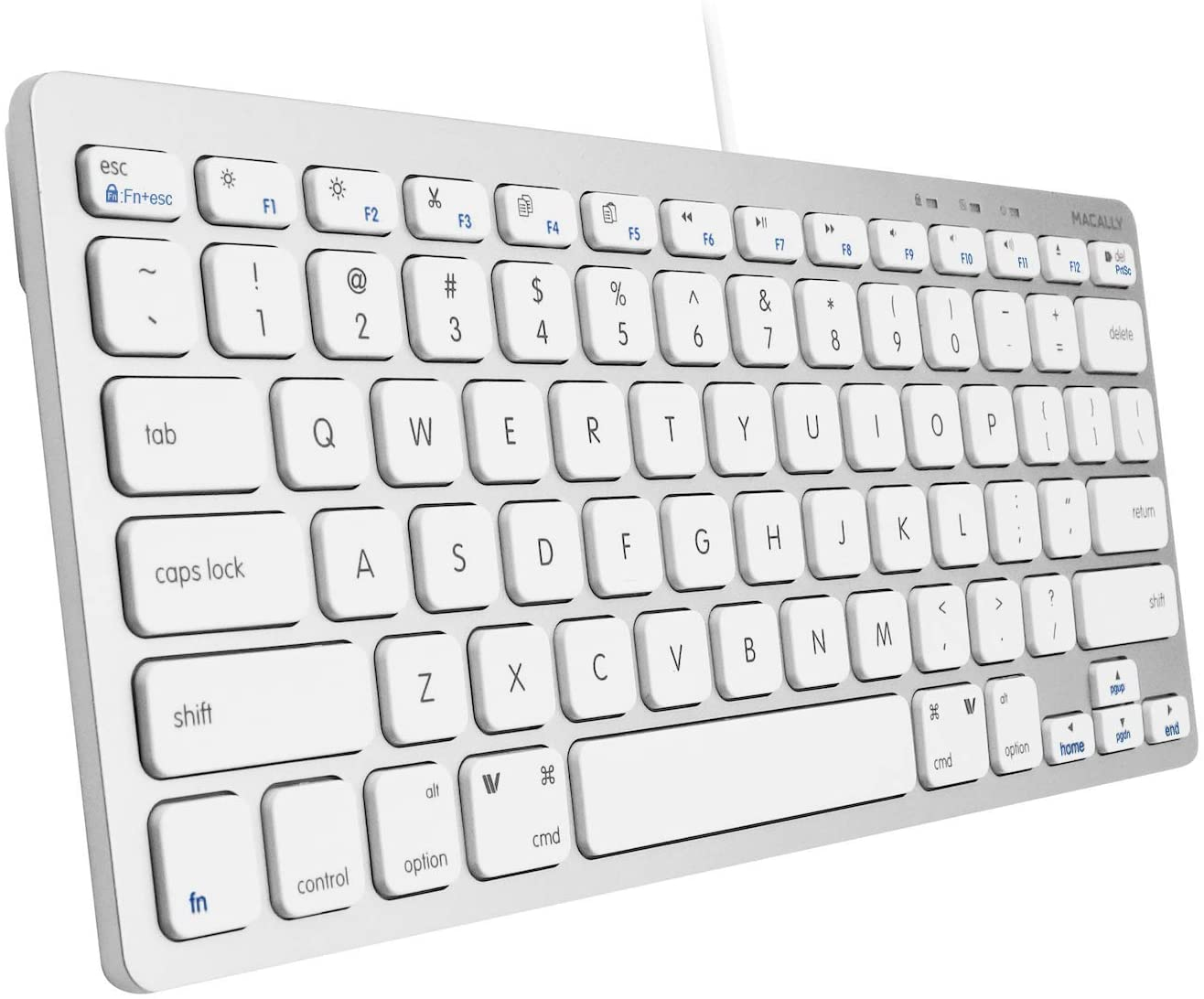 Macally USB Mini Keyboard for Mac and Windows PC - 78 Scissor Switch Keys with 13 Shortcut Keys - Compact & Small Keyboard That Saves Spaces and Looks Great - Plug and Play Mac Keyboard - Aluminum