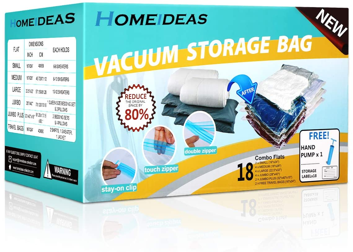 HOMEIDEAS 16 Pack Vacuum Storage Bags Space Saver Seal Bags - Compression Bags for Storage for Clothes Blankets Duvets Pillows Comforters,Travel Hand Pump Included