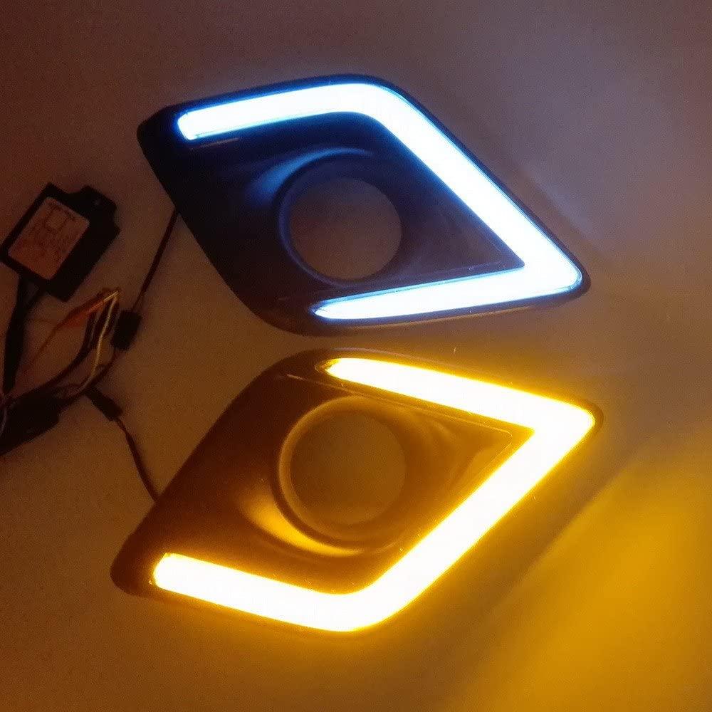 July King LED Daytime Running Light for Toyota Hilux Revo Vigo 2015 2016 2017 2018, 6000K LED Light Guide Front Bumper DRL With Yellow Turn Signal Light