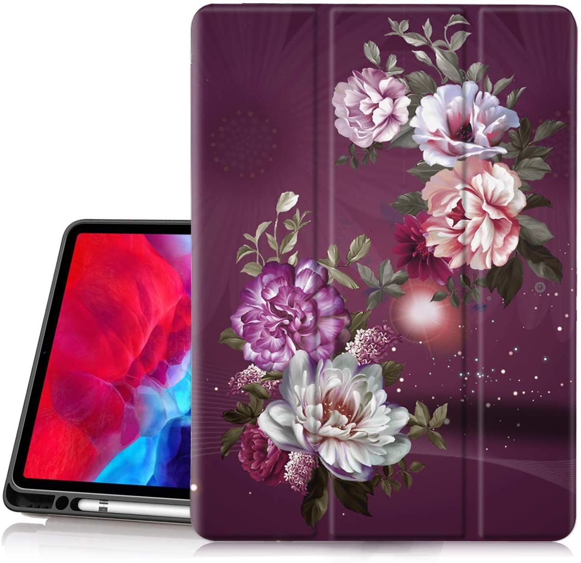 Hocase iPad Pro 12.9 2020 Case, Trifold Folio Smart Stand Case with Pencil Holder, Auto Sleep/Wake Feature, Soft TPU Back Cover for iPad Pro 12.9-inch 4th & 3rd Generation - Burgundy Flowers