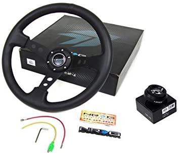 98-10 Mazda Miata NRG 350MM Steering Wheel + Hub Adapter Black (off road)