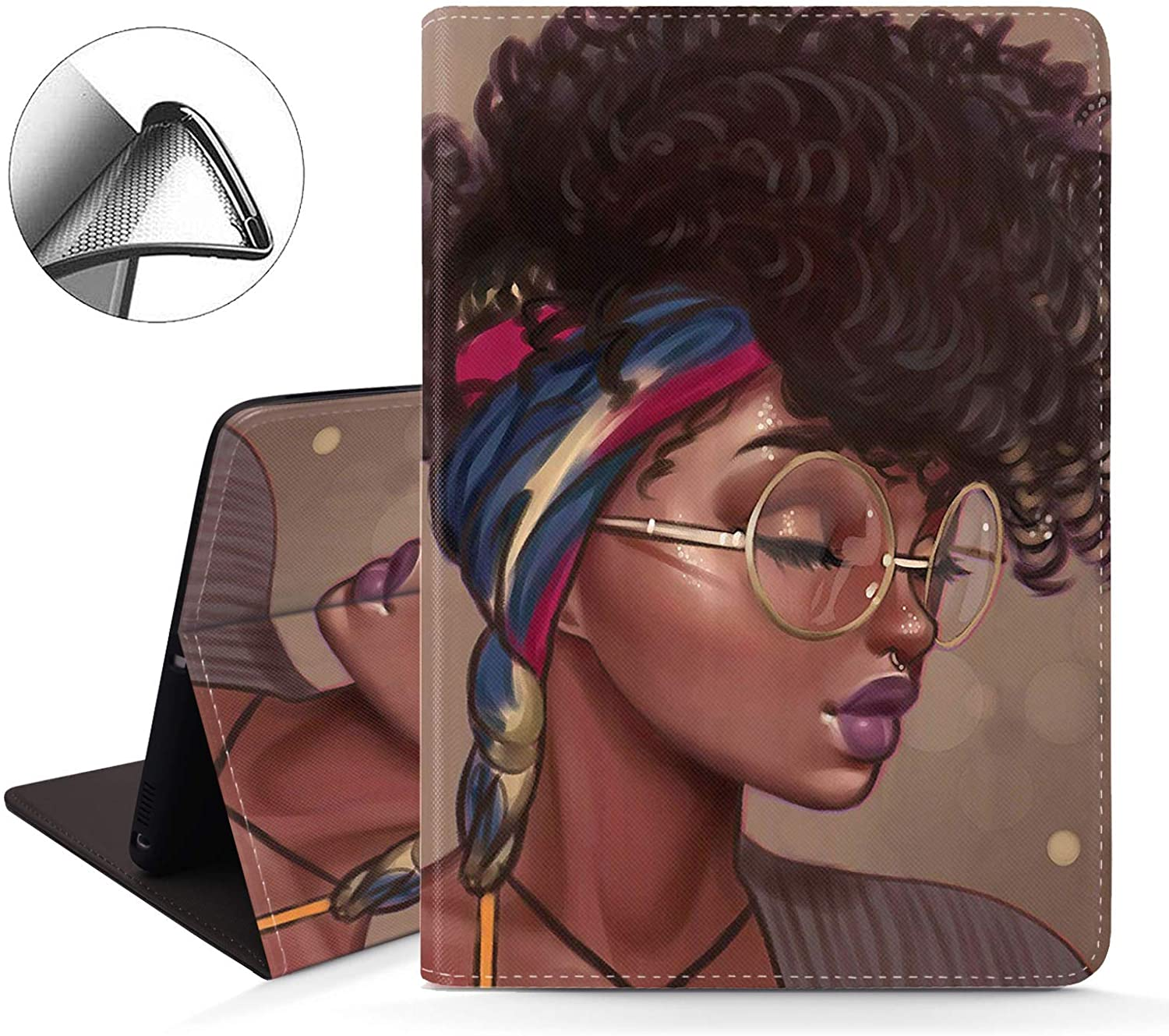 iPad 9.7 inch 2018/2017 Case,Pro 9.7 Case,iPad Air 2 Case,iPad Air Case, Slim Soft Rubber Back Shockproof Protective Case with Auto Wake/Sleep for iPad 5th/6th Gen,African American Women