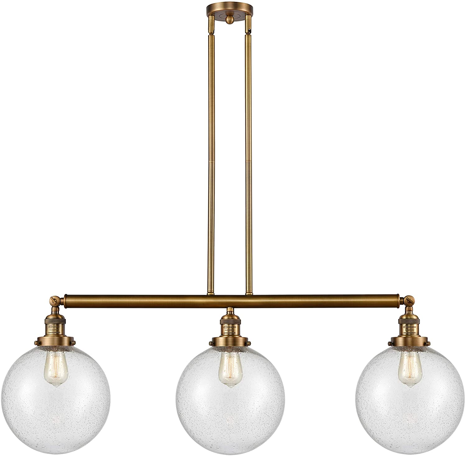Innovations 213-BB-S-G204-10-LED X-Large Beacon 3 Island Light Part of The Franklin Restoration Collection, Brushed Brass