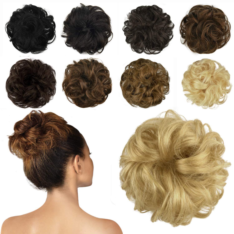 FESHFEN 100% Human Hair Bun Extension, Messy Bun Hair Piece Curly Hair Scrunchies Chignon Ponytail Extensions for Women Girls Updo Donut Hairpiece Dark Bleach Blonde