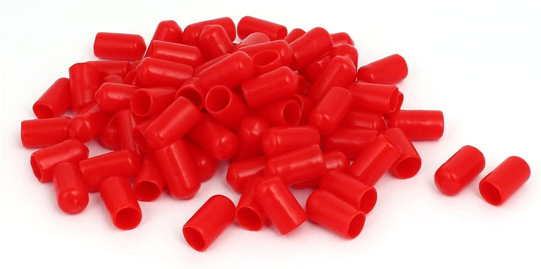 Aexit 10.5mm Inner Cord Management Dia Rubber Insulated End Cap Screw Thread Protector Cover Cable Sleeves Red 100pcs