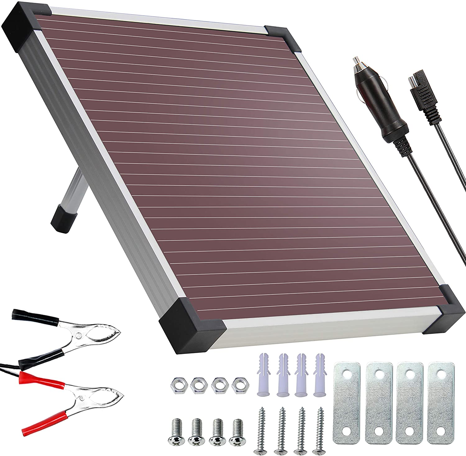 SOLPERK 9W Amorphous Solar Panel, Solar trickle Charger, 12V Solar Battery Charger and Maintainer,Suitable for Automotive, Motorcycle, Boat, ATV, Marine, RV, Trailer, Powersports, Snowmobile, etc
