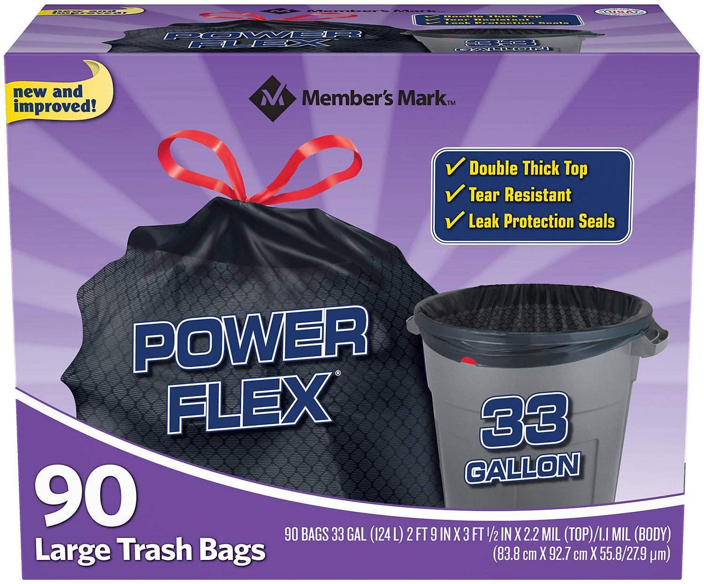 Member Mark 33-Gallon Power-Guard Drawstring Trash Bags (90 ct.) - Trash Bags