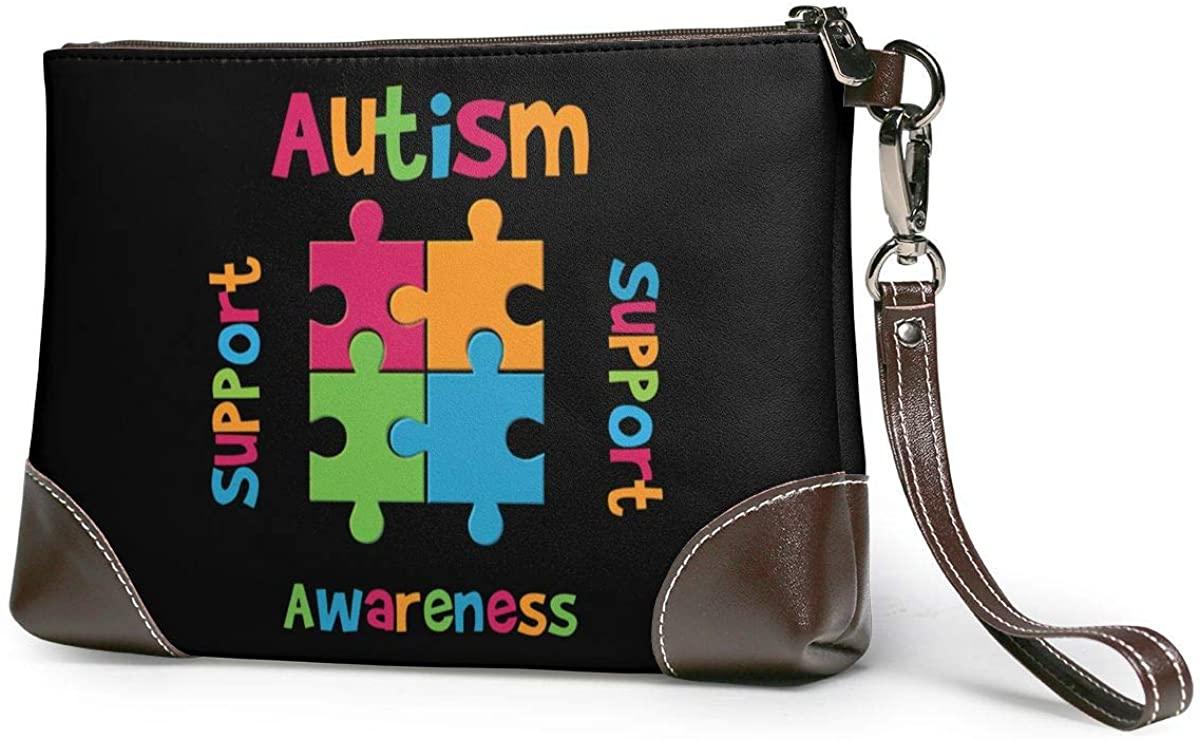 Support Autism Awareness Leather Clutch Fashion Handbag Phone Wristlet Purse