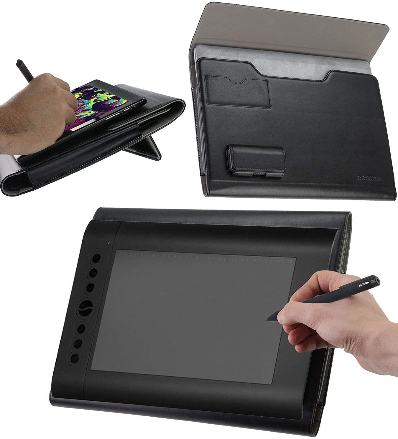 Broonel Luxury Leather Graphics Tablet Case with Built-in Ergonomic Stand Compatible with The HUION H610 Pro Graphic Drawing Tablet