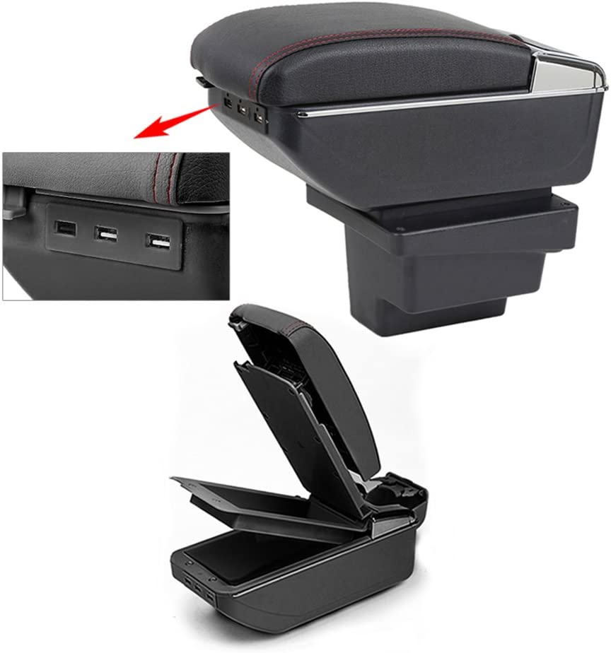 8X-SPEED for 2009-2017 Volkswagen Tiguan Top Car Armrest Center Console Accessories Arm Rest Charging Function with 7 USB Ports Double-Space Black