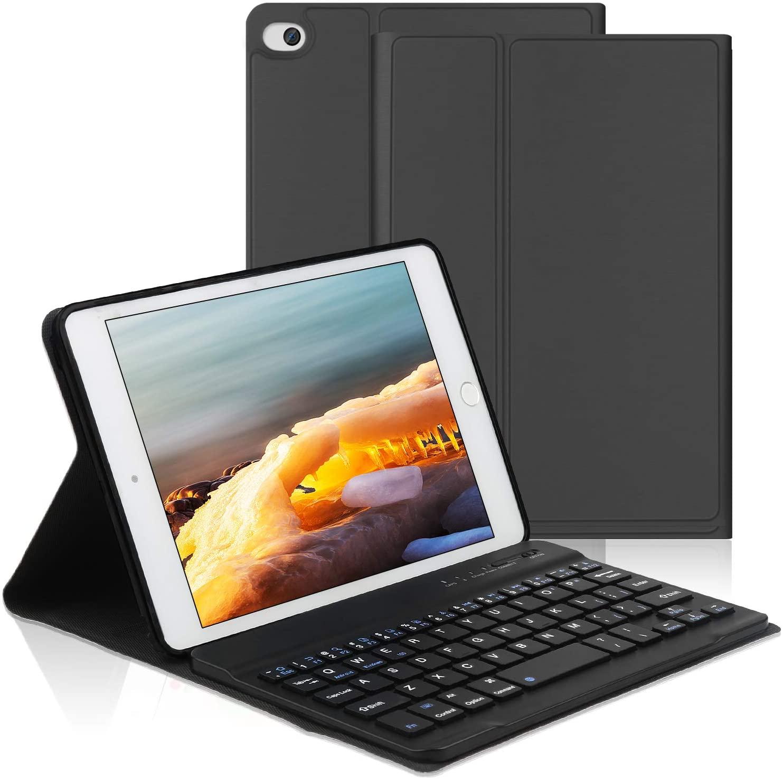OYOSUOGG iPad Mini Keyboard Case 7.9 inch for iPad Mini 5 2019 /iPad Mini 4/3 / 2/1, Auto Sleep/Wake Function Stand Leather Folio Protective Cover with Removable Wireless Bluetooth Keyboard-Black