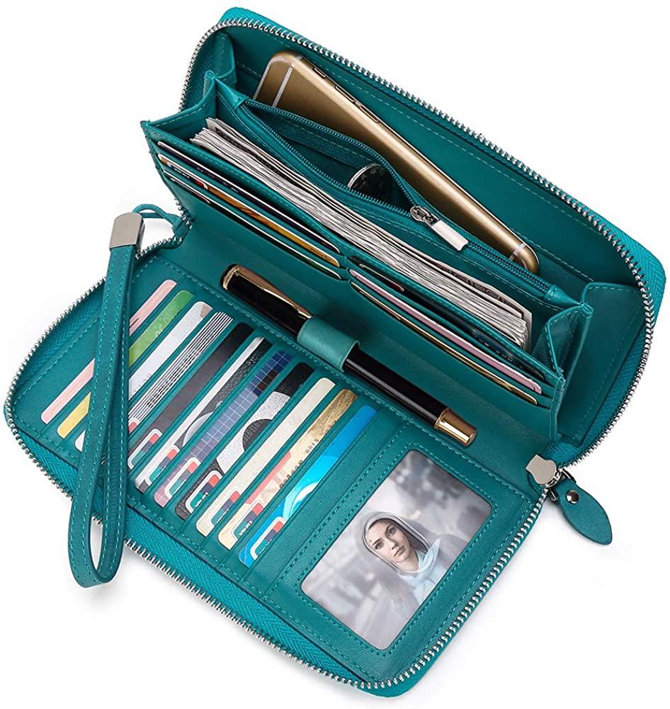 Women Leather Wallet Rfid Blocking Large Capacity Zipper Around Travel Wristlet Bags