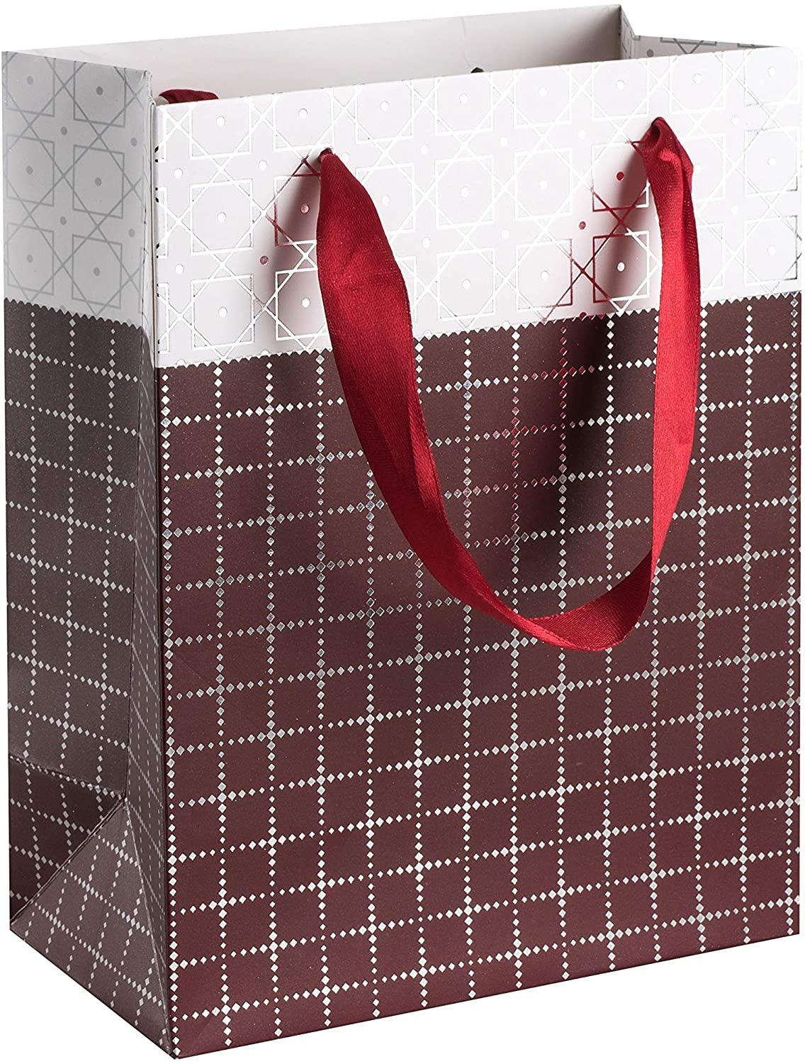 "Small Box Design Foil Stamped Gift Bags Set (12 Pack)- 9""x 7""x 4"" Unique Design with Durable Ribbon Handles, Beautiful Present Bags Best for Birthday, Wedding and Party Favors (Maroon)"