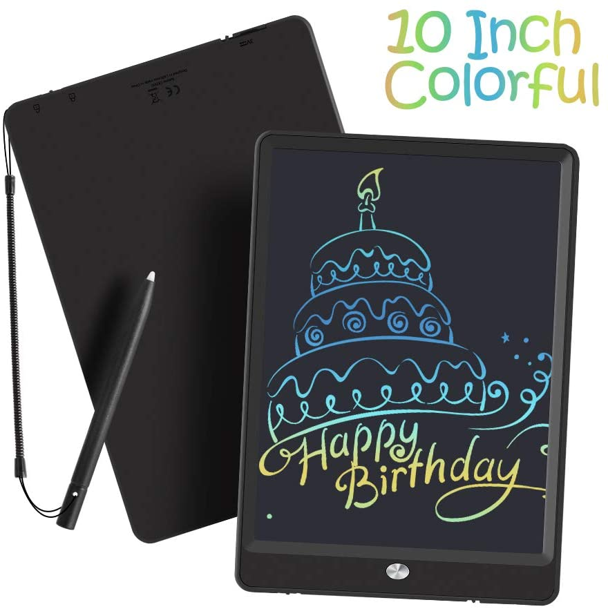 LCD Writing Tablet, 10 Inch Colorful Screen Doodle Board Drawing Tablet for Kids, Toy Gift for Ages 2+ Girls/Boys (Black)