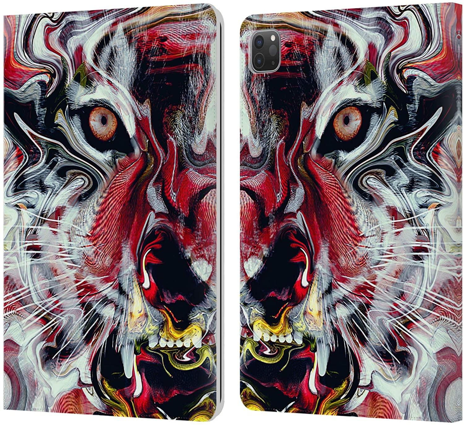 Head Case Designs Officially Licensed Riza Peker Warm Tiger Animal Abstract Leather Book Wallet Case Cover Compatible with Apple iPad Pro 11 (2020)