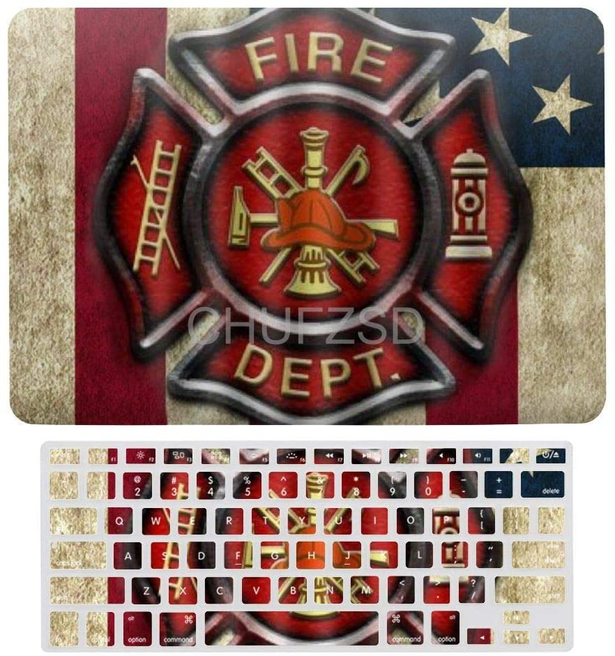 Firefighter Flag Laptop Case Shell & Keyboard Membrane for MacBook Air 13 New Pro 13touch Protective Shell Set