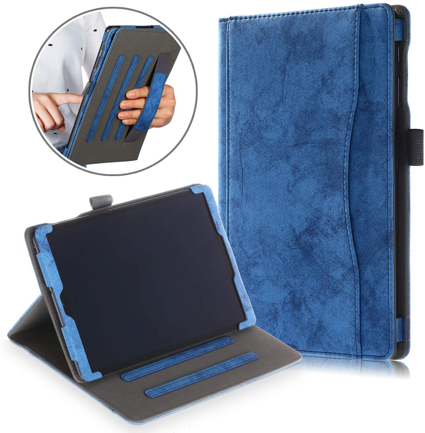 XBE Multi-Functional Stand Case Compatible with Samsung Galaxy TAB A T510/T515 10.1 Inch 2019,with Multiple Viewing Angles and Hand Holder, Darkblue