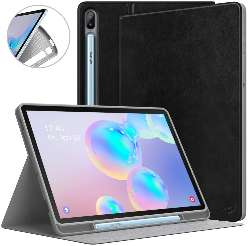 Dadanism Case Fit Samsung Galaxy Tab S6 10.5 2019 (SM-T860/SM-T865), Slim Light Weight Shock Proof Hard Cover with Auto Wake/Sleep, Viewing/Typing Stand Fit Galaxy Tab S6 10.5 Inch 2019 - Black
