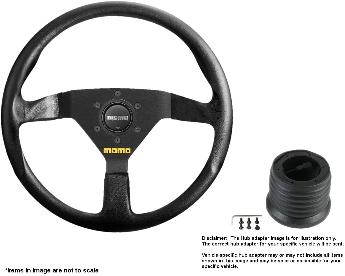 MOMO MOD.78 320mm (12.6 Inches) Leather Steering Wheel w/Brushed Black Anodized Spokes and Hub Adapter for Toyota MR2 Part # R1909/33L + 7728