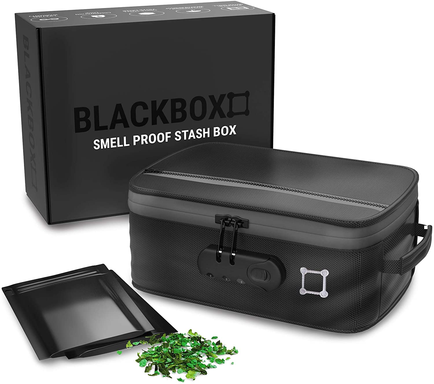 Kulbi The Blackbox Smell Proof Stash Box - Triple Smell Blocking Layers Smell Proof Container - Durable Ballistic Shell with Waterproof Coating + Heavy Duty Combo Lock - Includes 2 Smell Proof Bags