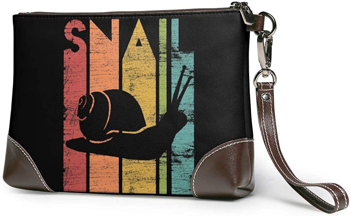 Retro Snail Leather Clutch Fashion Handbag Phone Wristlet Purse