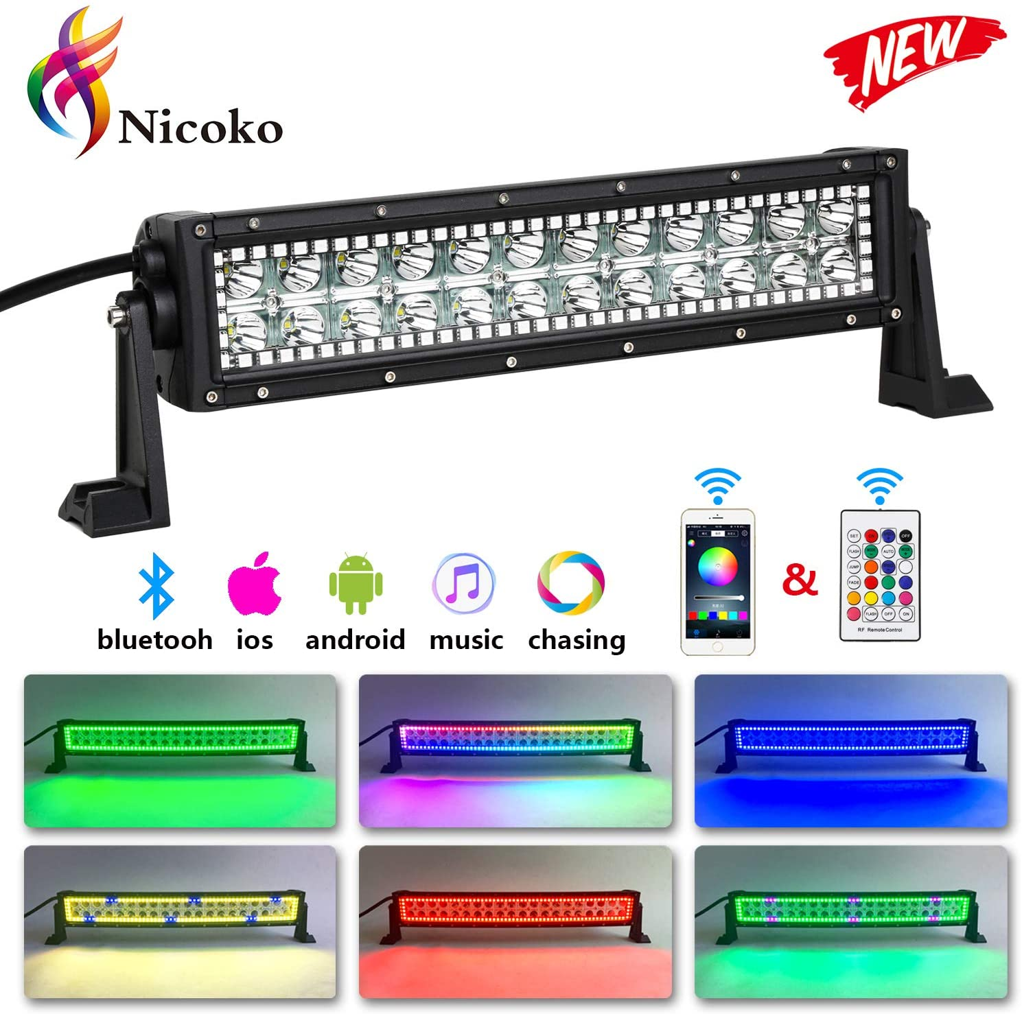 Nicoko 12inch 72w Spot Lights LED Light Bar with Chasing RGB Halo Strip remote&Bluetooth controlled Flashing Modes for atv Lights 1 Year Warranty
