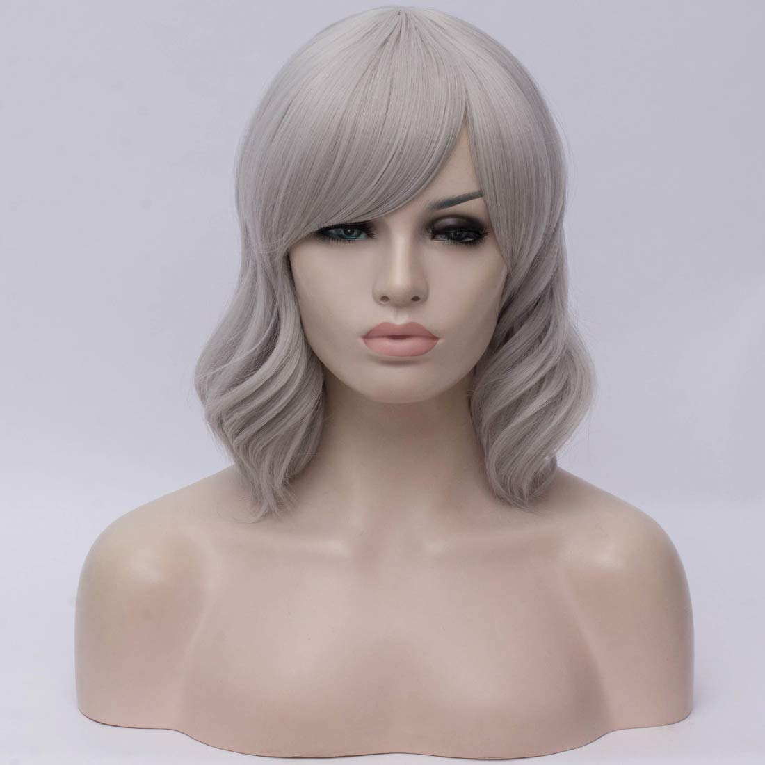 BUFASHION Short Wavy Bob Wigs Silver Curly Hair Wigs With Bangs Heat Resistant Cosplay Party Custom Wigs With Wig Cap (Silver)