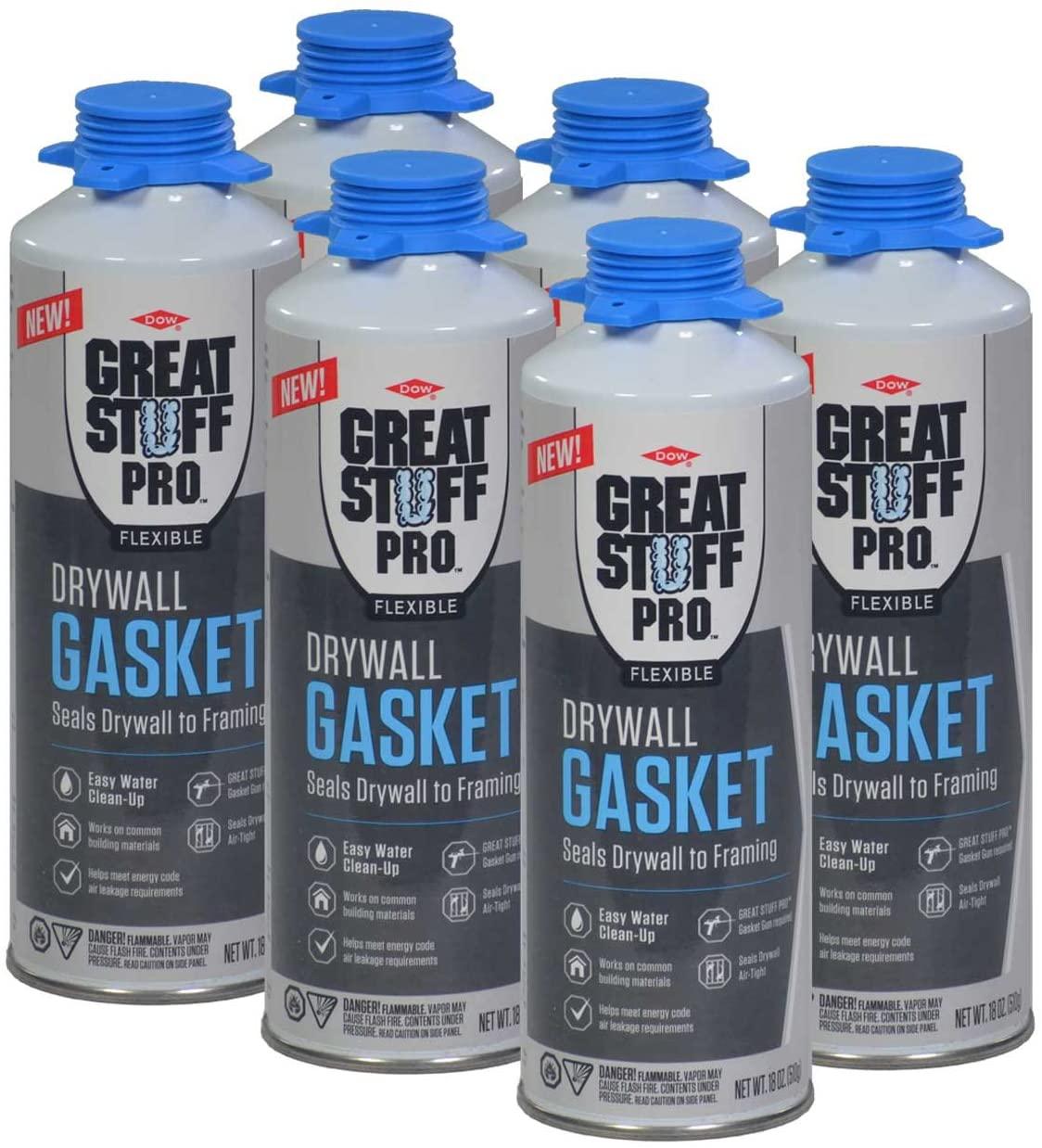 Great Stuff Pro Flexible Drywall Gasket Foam, 6-18 oz Cans, 1/2 Case