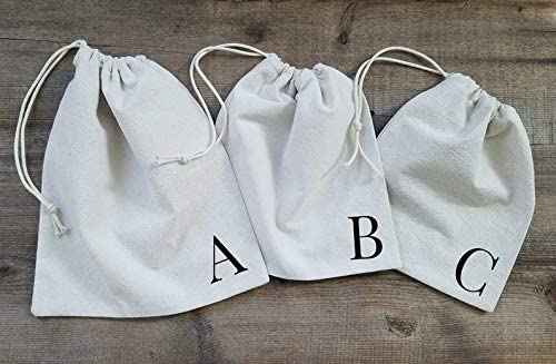 CELYCASY Monogram Gift Bag Set Cloth Gift Bag Set Fabric Gift Sacks Drawstring Sack Gift Sacks Custom Gift wrap Bag Cloth Sacks