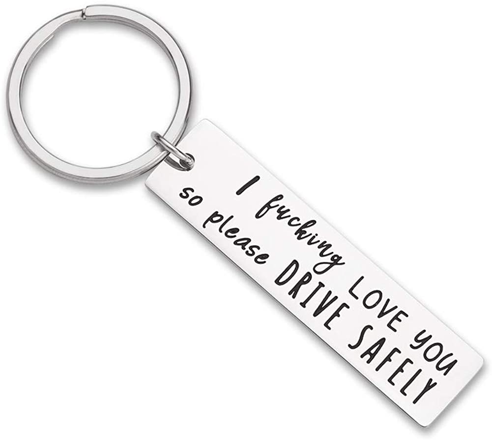 Fathers Day Gifts Drive Safe Keychain Boyfriend Gifts for Husband Dad I Love You Gifts Birthday Gifts Key Ring Rectangle Gift New Driver Trucker Gifts for Him Men