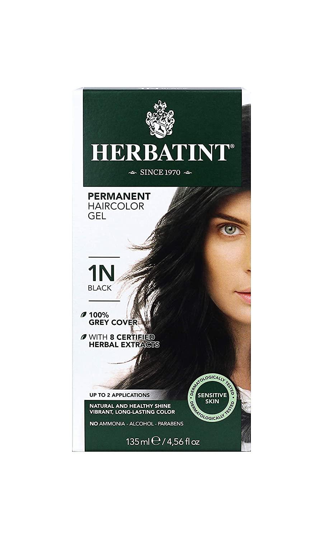 Herbatint Permanent Haircolor Gel, 1N Black, 4.56 Ounce