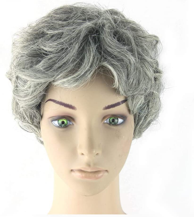 Wig, Natural Ladies Grandma Ash Soft Short Curly Hair Heat Resistant Synthetic Cosplay hairpieces