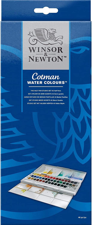 Winsor & Newton Cotman Watercolor Studio Set, 45 Half Pans