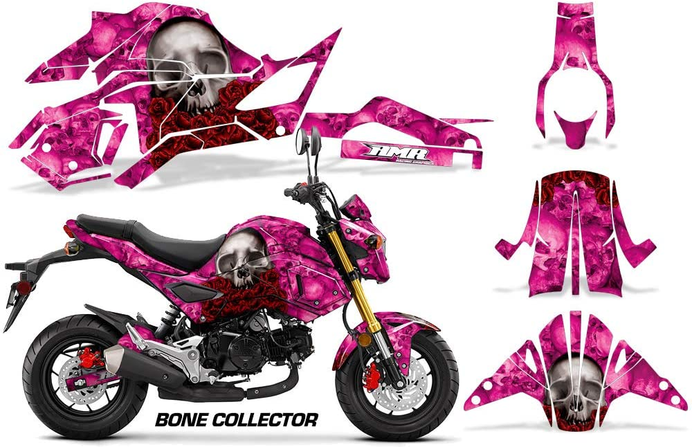 AMR Racing Motorcycle Graphics kit Sticker Decal Compatible with Honda Grom 125 2017-2019 - Bone Collector Pink