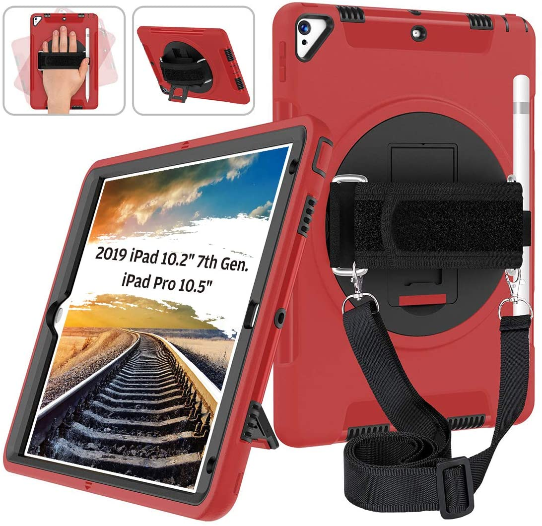 Laricris New iPad 10.2 2019 Case,Layer Heavy Duty Shockproof Rugged Protective Cover with Hand and Shoulder Straps for iPad 7th Generation 2019 10.2 inch, iPad air 10.5 and iPad pro 10.5,Red