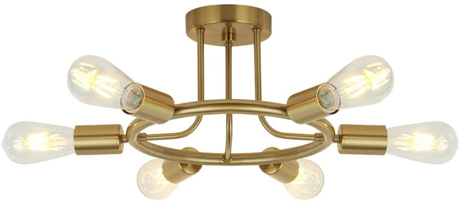 BONLICHT 6 Lights Semi Flush Mount Ceiling Light Brushed Brass Mid Century Modern Chandelier Lighting Gold Sputnik Ceiling Light Fixture for Dining Room Bed Room Kitchen Island Foyer Hallway