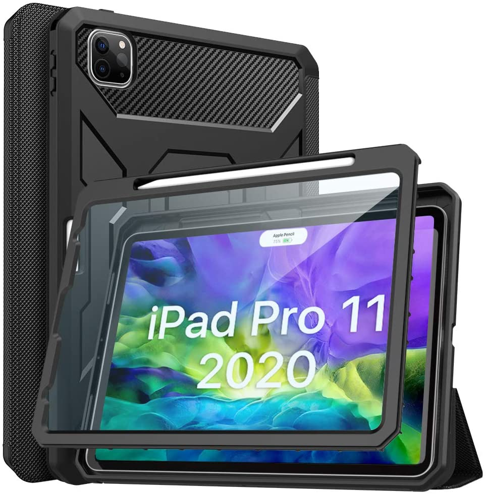 MoKo Case Fit iPad Pro 11 2nd Gen 2020 & 2018, [Built-in Screen Protector] Full-Body Shockproof Case Smart Shell Trifold Stand Cover with Auto Sleep/Wake & Pencil Holder - Black