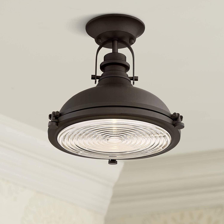 Verndale Industrial Ceiling Light Semi Flush Mount Fixture Bronze Dome 11 3/4