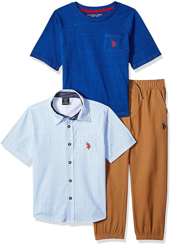 U.S. Polo Assn. Boys' Little 3 Piece Short Sleeve Henley, T-Shirt, and Twill Jogger