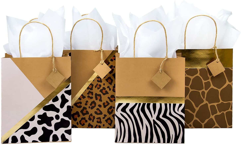 Loveinside Medium Size Kraft Gift Bags - Leopard/Zebra/Deer/Cow Printed Design Gift Bags for Shopping, Parties, Wedding, Baby Shower, Craft - 4 Pack - 8 X 4 X 10 Inch