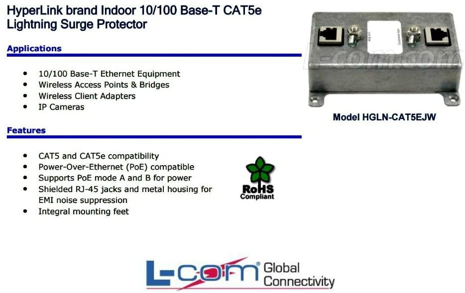 L-com HGLN-CAT5EJW Indoor 10/100 Base-T Shielded CAT5e Lightning Surge Protector