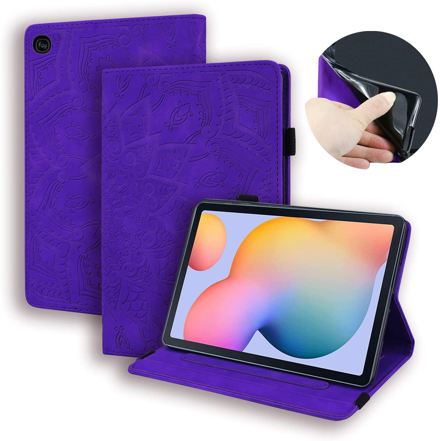 USTY Samsung Galaxy Tab S6 Lite Case SM-P610 - Slim Folio Stand Flower Pattern Premium Leather Magnetic Cover with Card Holders for Galaxy Tab S6 Lite 10.4 Tablet SM-P610/P615 2020, Purple