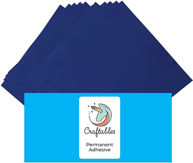 Craftables Dark Blue Vinyl Sheets - Permanent, Adhesive, Glossy & Waterproof | (10) 12