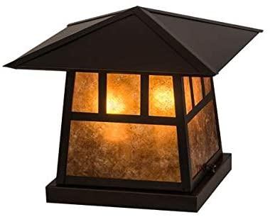 Meyda Tiffany 45640 Mission Two Light Pier Mount from Stillwater Collection in Craftsman Brown Finish, 12.00 inches