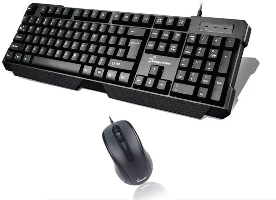 OFNMD Flat-Spring USB Keyboard and Mouse Set,Wired Full-Size Office Removable Keycaps Spill-Resistant + Right-Handed Mouse Interface for Desktop Compurter QWERTY Key