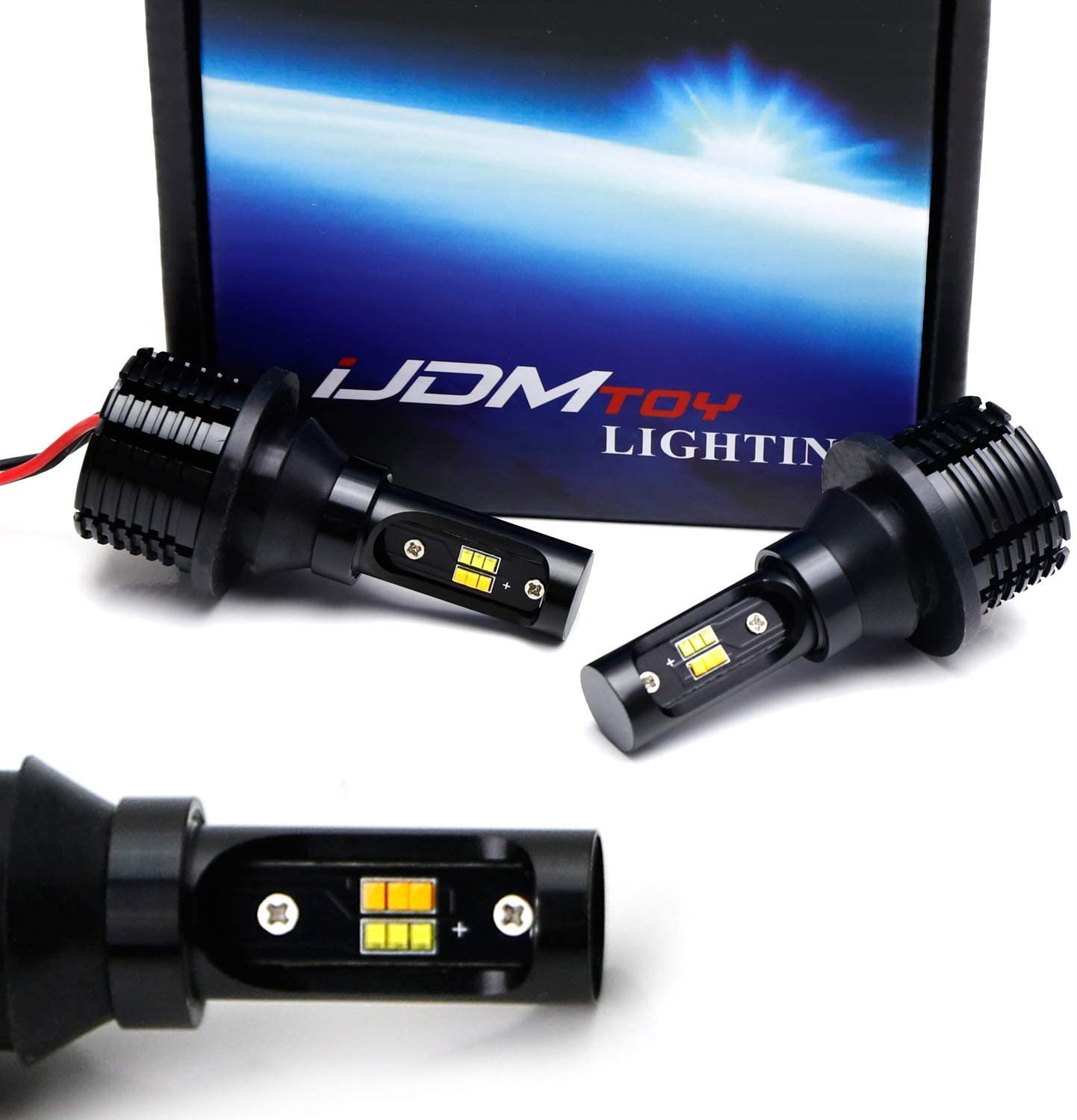 iJDMTOY No Resistor Required 21W 7440/7443 Switchback Amber LED Turn Signal, Xenon White LED Daytime Running Light Conversion Kit