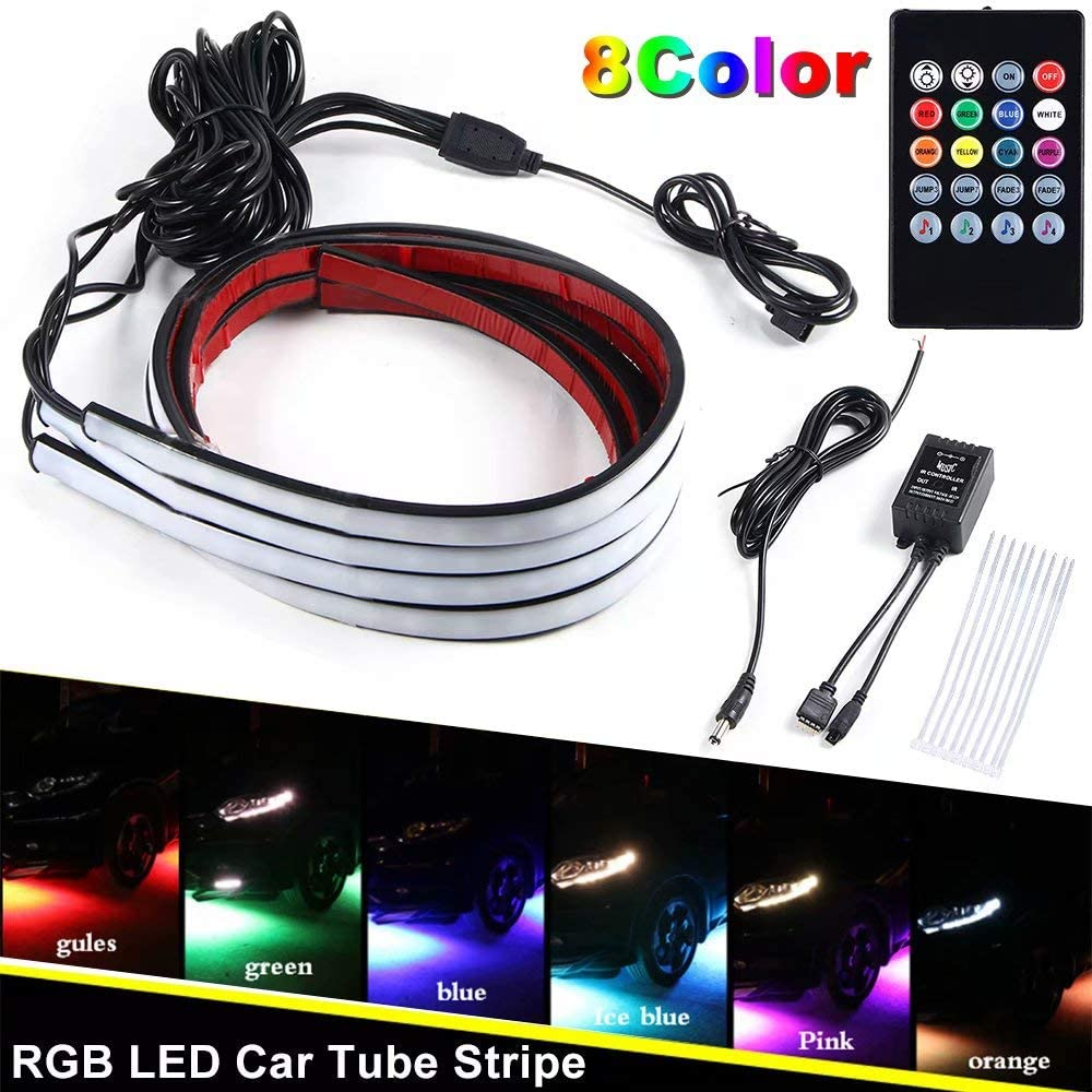 JahyShow Car Underglow Underbody System Neon Strip Lights Kit, 8 Color RGB 5050 LED Strip with Sound Effect Function and Wireless Remote Control