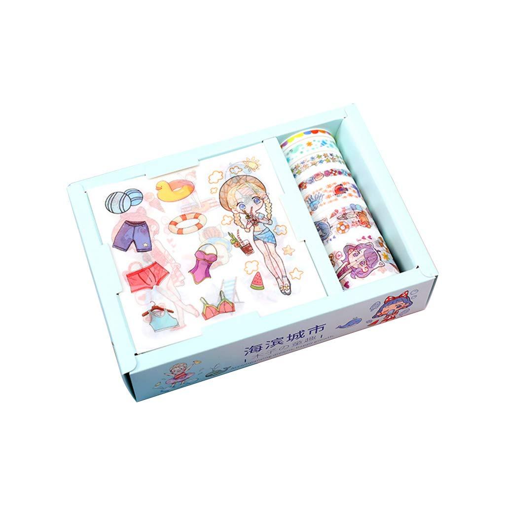 minansostey Kawaii Gift Package Sticker with 7pcs Washi Tape Set Scrapbooking Masking Tapes