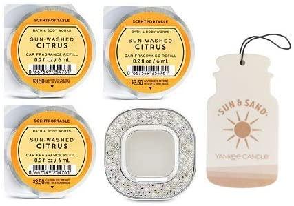 Bath and Body Works Pearl & Gems Visor Clip Car Fragrance Holder and 3 Scentportable Sun-Washed Citrus. Paperboard Car Fragrance Sun & Sand.