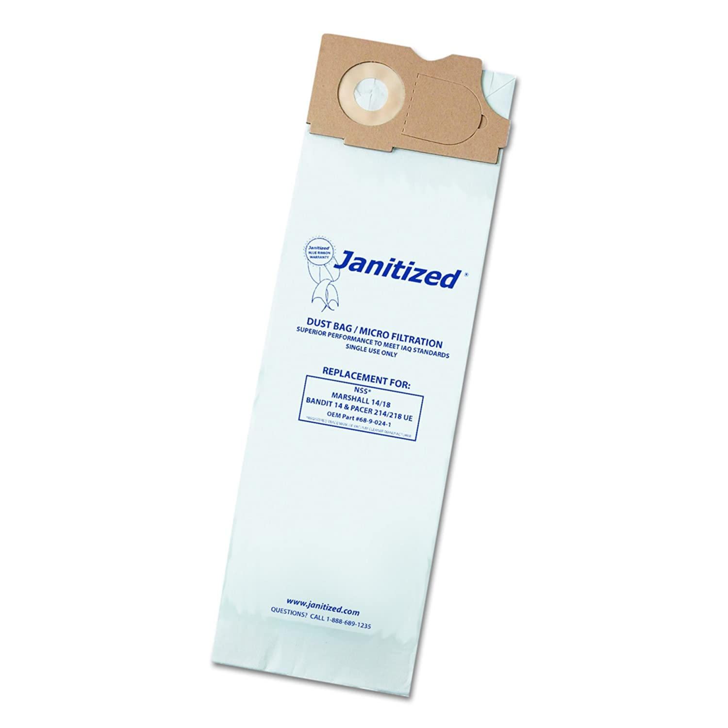 Janitized JAN-NSSM14-2 NSS Marshall 14/18, 2 Ply Vacuum Bag, Bandit 14 and Pacer 214/218 UE (10 per Pack, Case of 10 Packs)